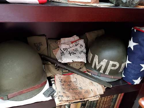 WW2 M-1 Combat helmet for 796th MILITARY POLICE BATTALION super rare unit marked.