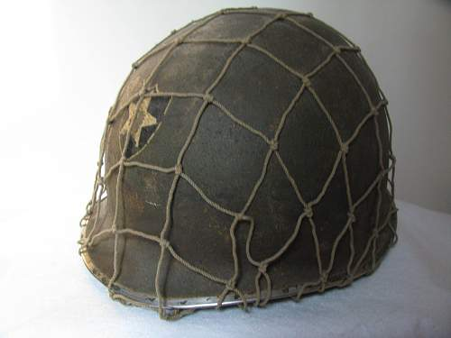 M1 Front Seam Fixed Bale Painted Helmet w/ Net, 2nd ID  WWII
