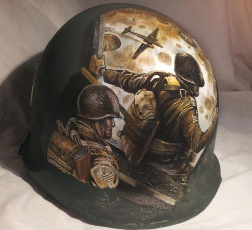 ww2 us painted helmet airborne 101