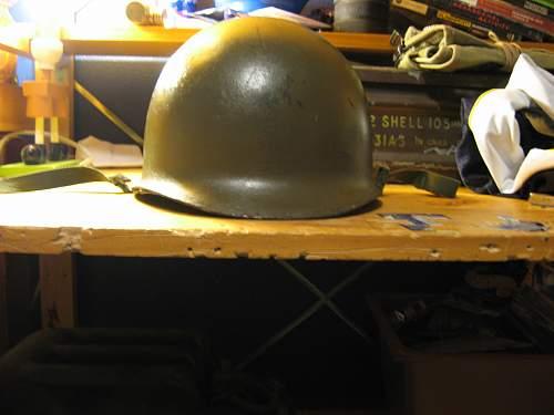 A salty M1 helmet