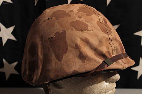 WWII USMC Camo Cover and Helmet