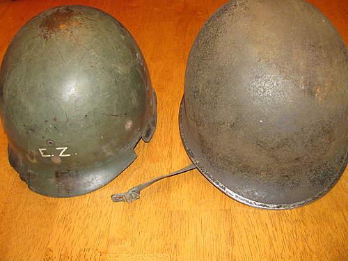 Fixed bail front seam M1 helmet