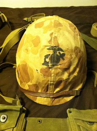 US Marine Combat Helmet plus veterans other combat gear