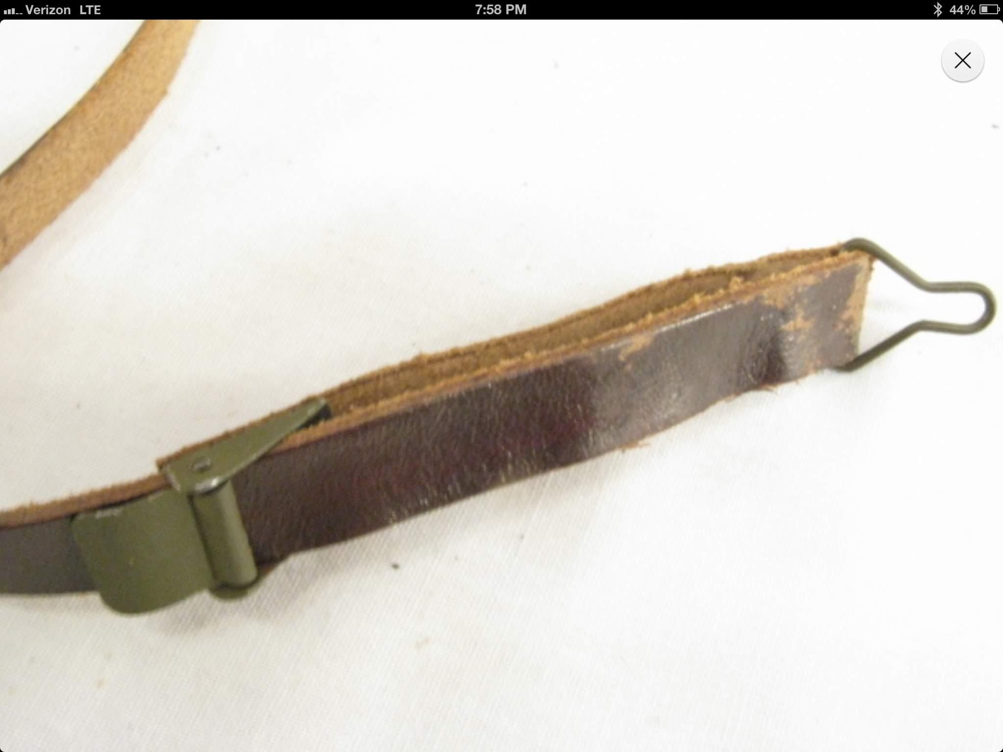 WWII US M1 HELMET LEATHER LINER CHINSTRAP-BLACK