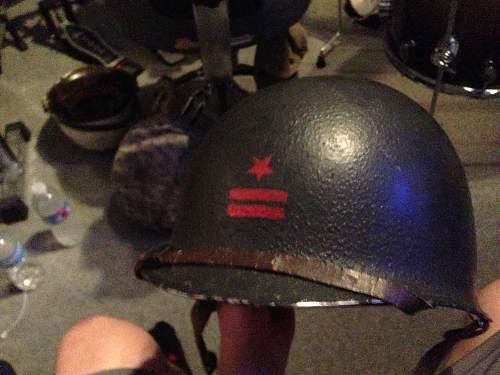 Blue m1 helmet.