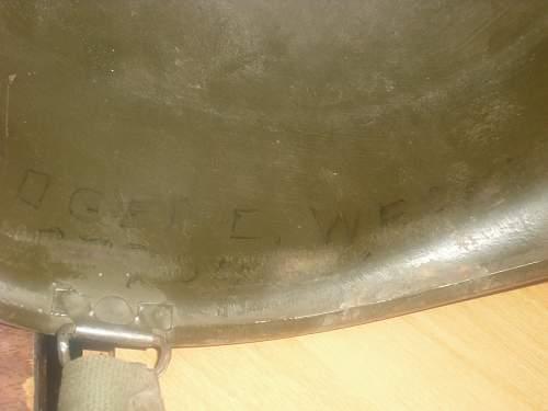 Front Seam Swivel Bale WWII M1 Steel Pot HELMET + Gold STAR...GENERALS Helmet??