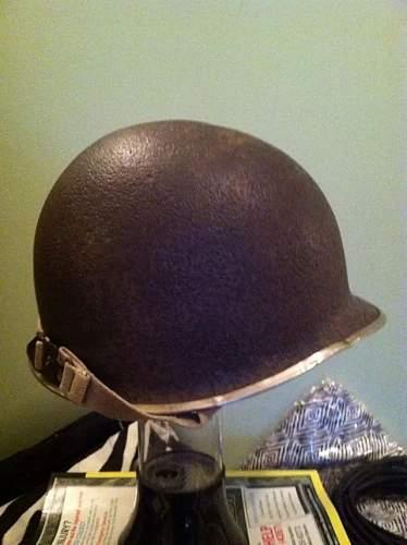 ww2 fixed bale front seam m1 helmet original paint?
