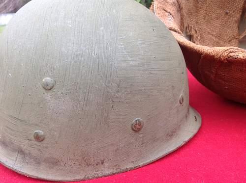 Possible Korean burlap War m1 helmet
