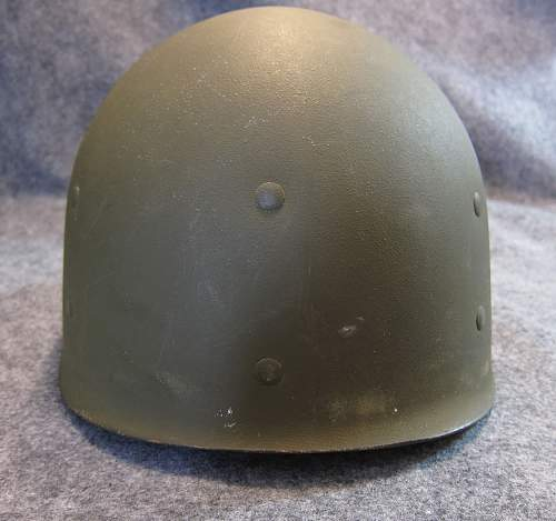US M1 Helmet - WW2: Fixed Bale, Front Seam, McCord, Westinghouse Liner