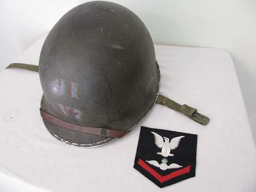 Painted Naval Fixed Bale M1 Helmet - Aviation Ordnance Man Third Class