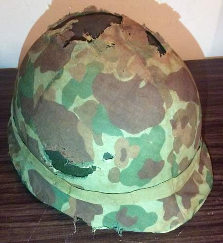 M1 Korean War with USMC mosquito helmet cover
