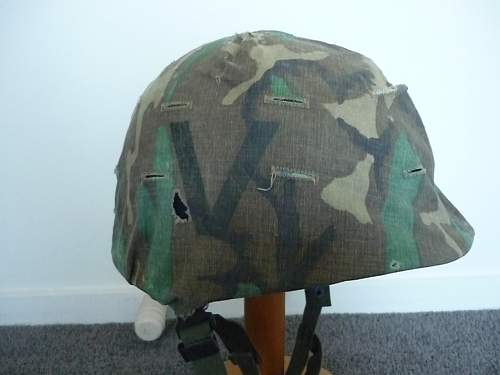 """Us woodland helmet cover  """"v"""" device help please"""