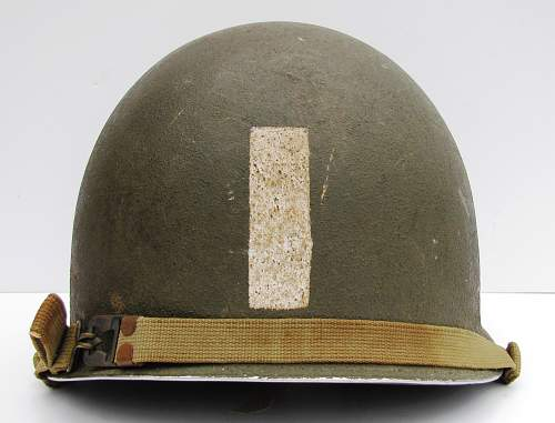 "1st Lt. Officers helmet with ""follow me"" stripe."