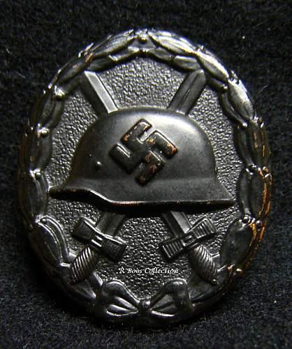 Verwundetenabzeichen 1939 in Schwarz, Chaotic Dot or Assmann Design.