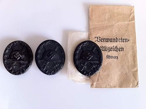 Three K & Q Verwundetenabzeichen Im Schwarz