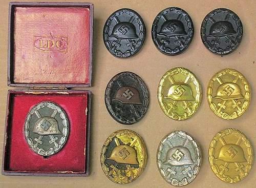 Gold, Siver and Black Verwundetenabzeichen