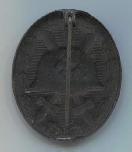 Verwundetenabzeichen 1939 in Schwarz marked 16