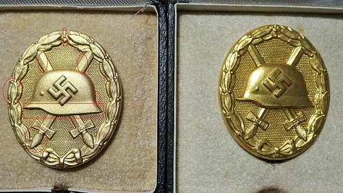 Verwundetenabzeichen 1939 in Gold 2x (one original, one fake)