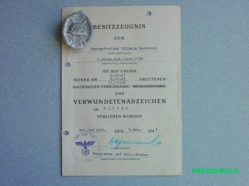 Verwundetenabzeichen in Silber mit Urkunde - original?