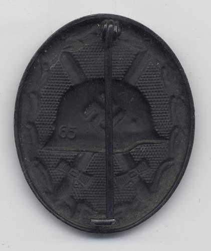 Verwundetenabzeichen in schwarz 65