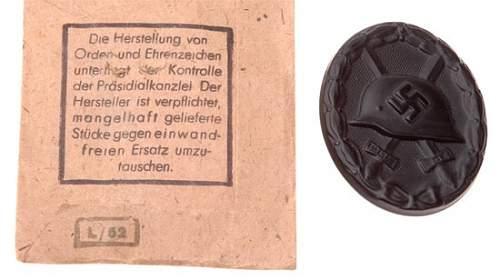 Verwundetenabzeichen 1939 in Schwarz - L/52 (C.F. Zimmermann)