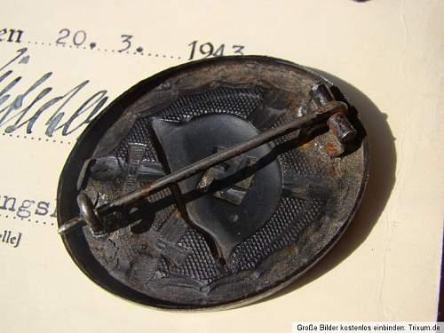 Verwundetenabzeichen Schwarz 1939 with document - ok?