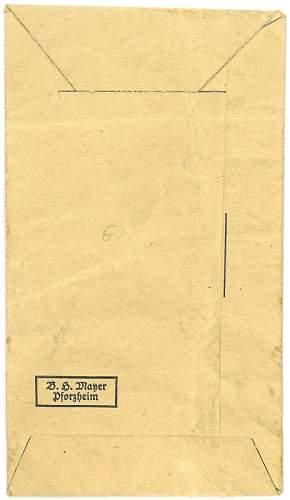 Verwundetenabzeichen in Schwarz - B.H. Mayer envelope