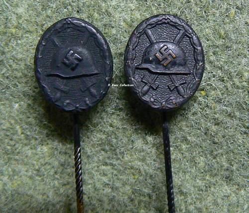Verwundetenabzeichen 1939 in Schwarz, 16 mm Stickpin, L/11 Marked