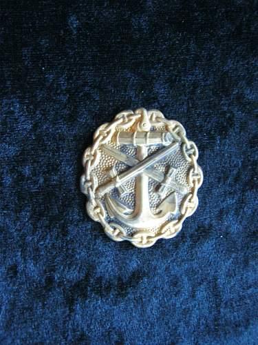 Kaiserliche Marine - Verwundetenabzeichen in Gold