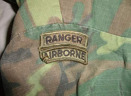 Brown dominant 68 dated ERDL top with ranger and airborne tabs