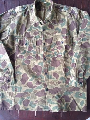 Vtg 60s Duck Hunter Camouflage Shirt Beo Gam Advisor Vietnam