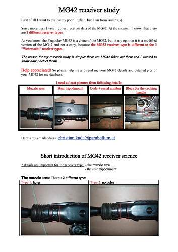 MG42 receiver types vs MG53 receiver