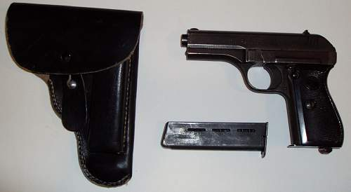 Czech CZ 27 Nazi accepted pistol. Late War made, fnh code and phosphate finished.