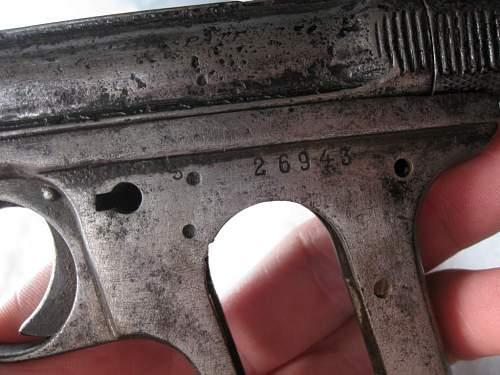 J.P Sauer & Sohn, suhl Cal. 6.35 pistol found.