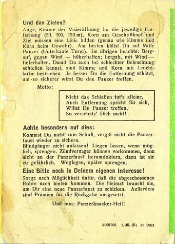Panzerfaust 100m instructional leaflet