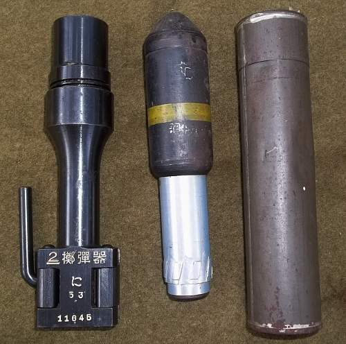 Japanese Type 2 Rifle Grenade launcher and Round