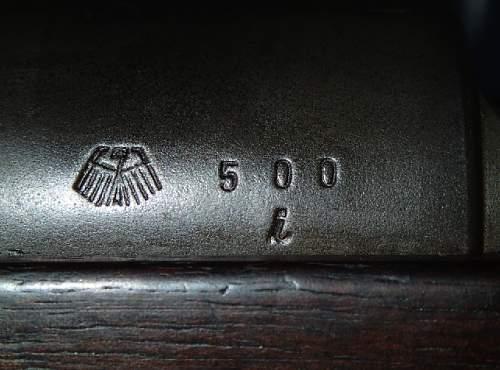 Mauser K98k 1937 S/42 All matching - Serial Number 500i