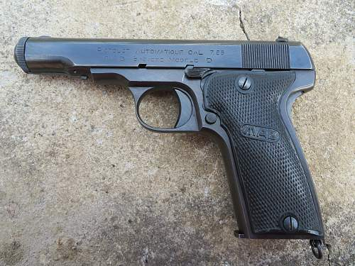 MAB Model D 7.65 and holster from Jersey, Channel Islands.