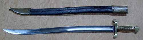 Click image for larger version.  Name:Mississippi bayonet and scabbard left side.jpg Views:290 Size:133.2 KB ID:81589