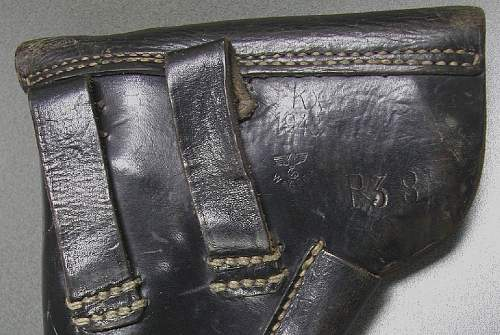 Click image for larger version.  Name:Rear markings fkx WaA869 marked P38 soft shell holster 1943 dated..jpg Views:486 Size:115.4 KB ID:84396