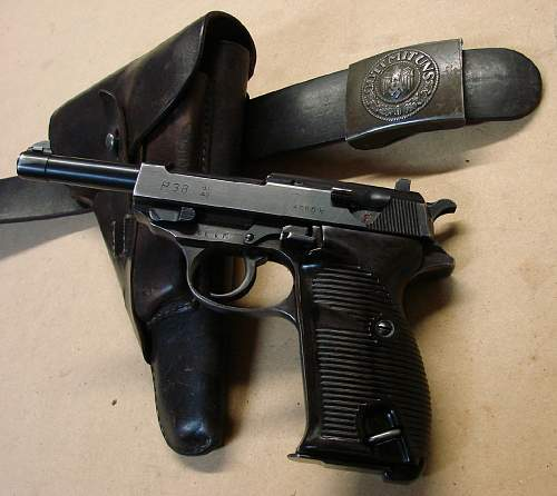 Click image for larger version.  Name:1943 dated soft shell P.38 holster with P.38 ac 42 code pistol and belt..jpg Views:1772 Size:113.3 KB ID:84544