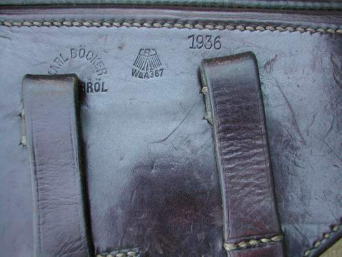 Click image for larger version.  Name:1936 dated Bocker manufactured P.08 holster showing markings..JPG Views:231 Size:237.0 KB ID:84564