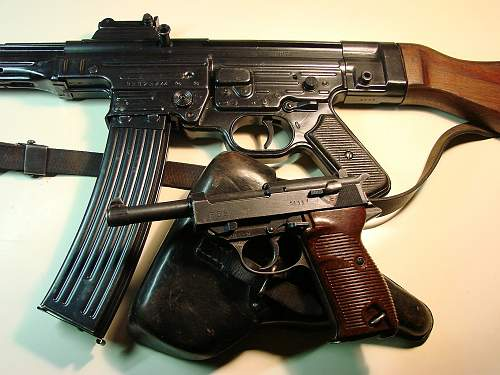 """Click image for larger version.  Name:44 dated P.38 holster with August 1943 manufactured Spreewerk code """"cyq"""" pistol and Erma assembl.jpg Views:3457 Size:205.6 KB ID:84738"""