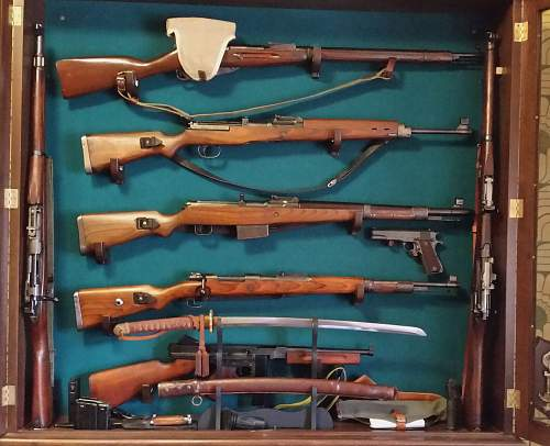 Some WWII weapons on display
