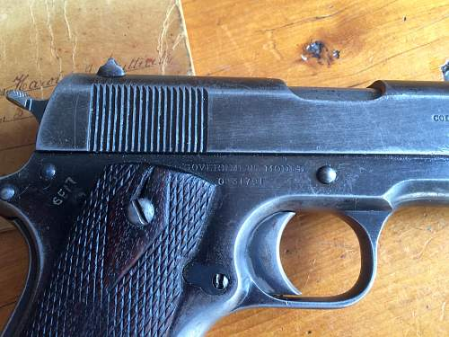 US Officer's WWI British-proofed .45 ACP Colt Government Model Pistol