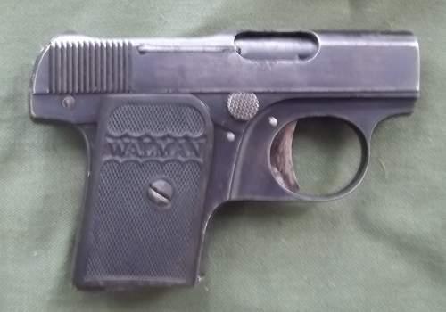 WALMAN 6.35mm SPANISH PISTOL W/CAPTURE PAPERS
