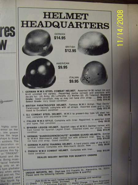 Supply and demand? German helmets advertised in the 1970's.