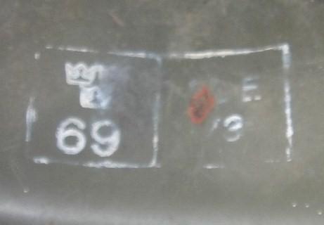 Swedish 3 crown stamp over a 69 inside helmet?