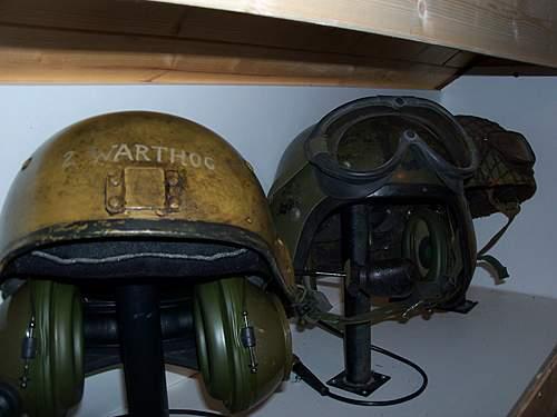 brittish tank helmet trio