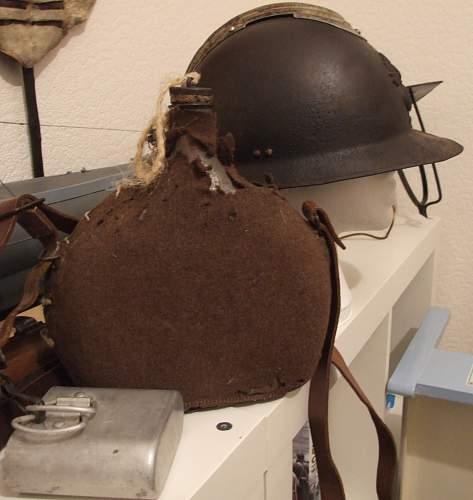 French WW2 helmet & water bottle